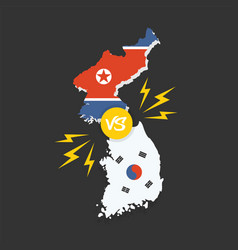 Korean conflict south and north flags vector