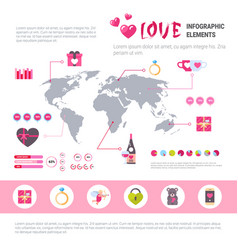 Love banner infographic set of template icons over vector