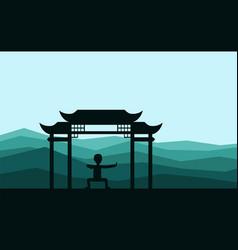 Man performing qigong or taijiquan exercises in vector