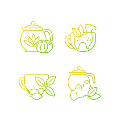 Medicinal tea gradient linear icons set vector