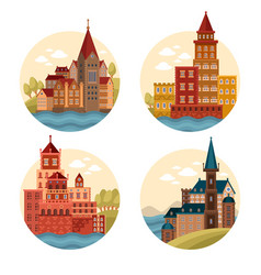 medieval castles and cathedrals church vector image