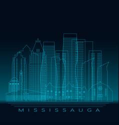 mississauga skyline detailed silhouette modern vector image