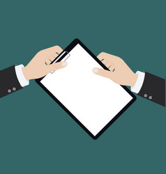 modern flat on hands holding clipboard with empty vector image