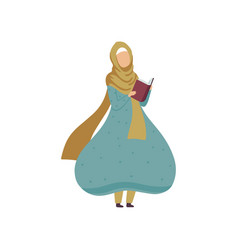 Muslim woman standing and reading book modern vector