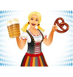 Oktoberfest girl salted soft pretzel brezel beer vector