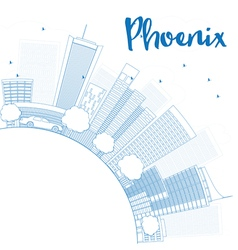 Outline Phoenix Skyline vector