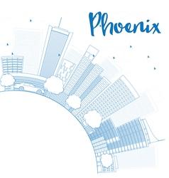 Outline phoenix skyline vector