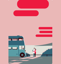 pair embrace look at each other sea bus vector image