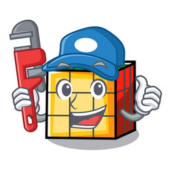 Plumber rubik cube mascot cartoon vector