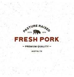 premium fresh pork label retro styled meat shop vector image