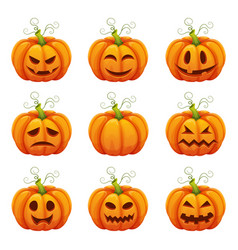 pumpkin with funny faces halloween cartoon vector image