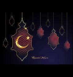 Ramadan kareem 2021 arabic lamp gold half moon vector