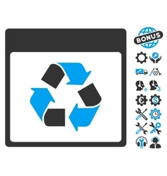 Recycle Calendar Page Icon With Bonus vector image