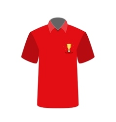 Red t-shirt with the image of the cup for first vector