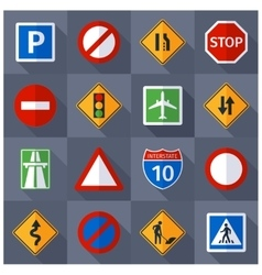 Road traffic signs flat icons set vector