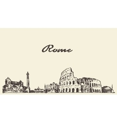 Rome skyline vintage drawn sketch vector