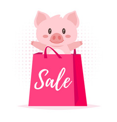 Sale banner with pig vector