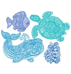 Sea turtle whale water plant and fish in paisley vector