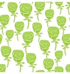 Seamless pattern with green flowers vector image