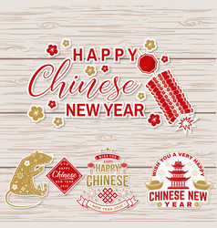 Set happy chinese new year sticker design vector
