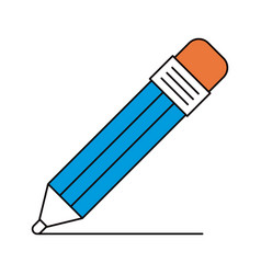 Silhouette color sections of pencil with eraser vector