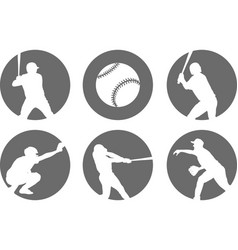 Simple baseball icons set vector