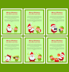 Six merry christmas and happy new year posters vector