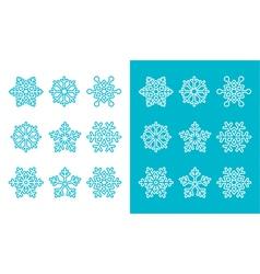 Snowflakes winter blue decoration icons set vector