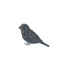 Sparrow bird spiral pattern color silhouette vector