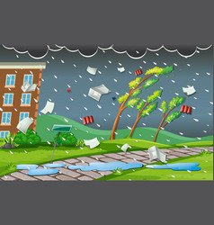 Storm scene with rain and wind vector