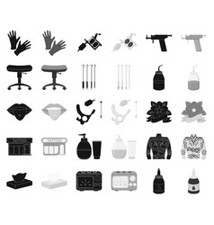 tattoo drawing on the body blackmonochrome icons vector image