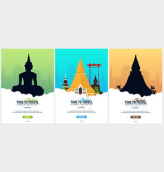 Thailand time to travel set of banners vector