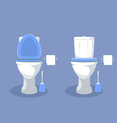 Toilet bowl with open toilet seat paper and brush vector