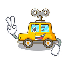 Two finger cartoon clockwork toy car in table vector