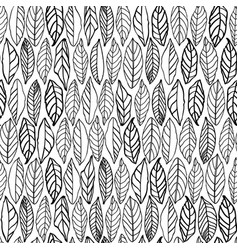 White pattern with line art leaves vector
