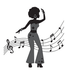 woman in style disco vector image