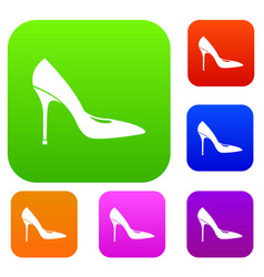 women shoe with high heels set collection vector image