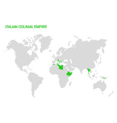 World map with italian colonial empire vector