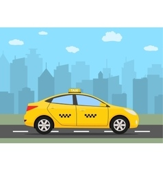 Yellow taxi car in front of city silhouette vector image
