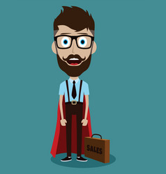 Young businessman in flat style superhero vector