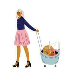 Young woman with bag on wheels full goods girl vector