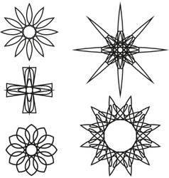 A set of black spiral logo on white background vector image