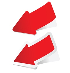 Arrow sticker in red vector