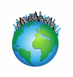 globe cityscape vector image vector image