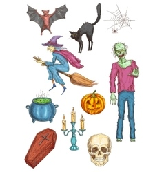Halloween horror party elements and icons vector image vector image