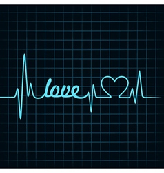 heartbeat make a love text and heart symbol vector image vector image