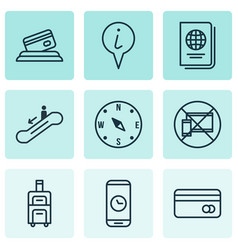 Set of 9 transportation icons includes luggage vector