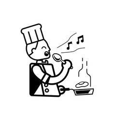 chef singing with hand hold ladle vector image