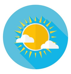 Flat Sky Sun and Clouds Circle Icon with Long vector image