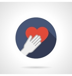 Give heart colorful round flat icon vector image
